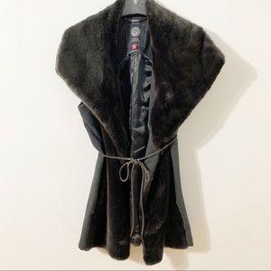 Vince Camuto Wide Collar Faux Fur Wool Blend  Vest